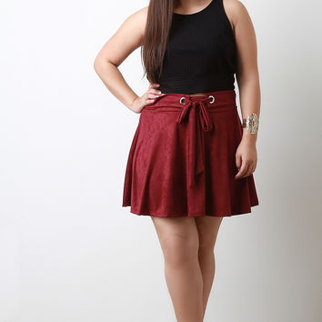 Metal Hole Belt Strap Embellishment Suede Skirt