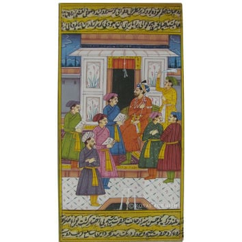 Rajasthani Mughal Court Scene Indian Miniature Painting