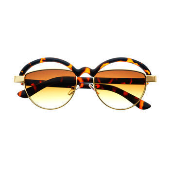 Unique Cut Out Lens Retro Fashion Round Sunglasses R1440