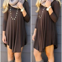 Never Let Go Brown V-Neck Quarter Sleeve Dress