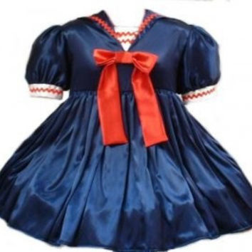 Sailor Dress Satin Sissy Navy Blue Red and White