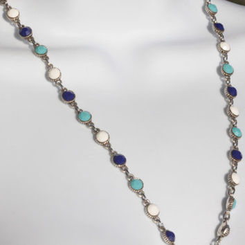 Swarovski Crystal Necklace - Navy Blue, Turquoise, & White.  Vintage necklace