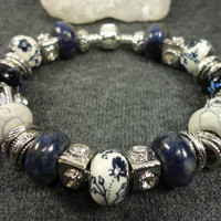 Navy Blue with Sodalite and Howlite European Charm Bracelet/Navy Flowers