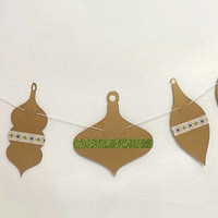 Mod Christmas Ornament Banner, Retro Style Die Cut Winter Holiday Garland, Xmas Party Wall Hanging, Brown & Green Backdrop Photo Prop