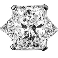 5 ct radiant center classic style settings ring w/two 1ct triangular sides simulated diamond-diamond veneer® set in sterling silver platinum electroplated 635R71232