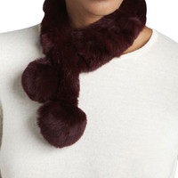 Rabbit Fur Neck Warmer, Wine, Size: ONE SIZE,