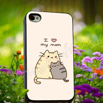 Pusheen The Cat I Love My Mom - for iPhone 4/4s, iPhone 5/5s/5C, Samsung S3 i9300, Samsung S4 i9500 Hard Plastic Case