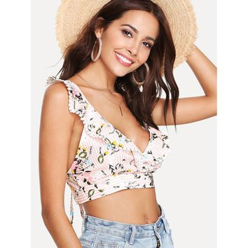 Criss Cross Back Striped Crop Top