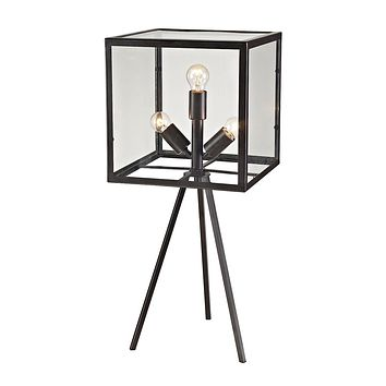 Workshop Glass 3 Light Cube Table Lamp in Aged Bronze