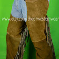 Vintage Leather Chaps Brown Suede Leather with Fringe/ leather chaps/Vintage Leather Cowboy rodeo Costume riding Pants