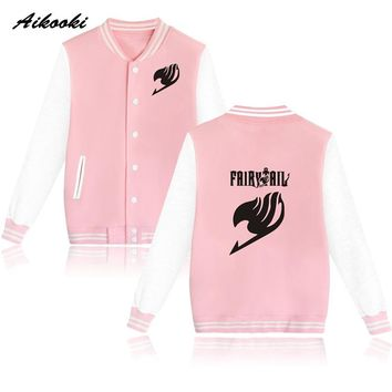 Cartoon Fairy Tail Baseball Jacket Capless Women Hoodies And Sweatshirts Fashion  Girls Winter Classic Anime Jacket Coat Clothes
