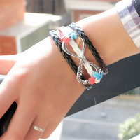 More leather rope accessories woven bracelets Eight font color deserve to act the role of the bracelet, both men and women bracelet  QNW8035