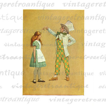 Alice and the Mad Hatter Alice in Wonderland Digital Image Download Collage Sheet No.2525