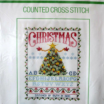 Sunset Christmas Tree Sampler Counted Cross Stitch Kit Design by Ruth Houseworth Sealed