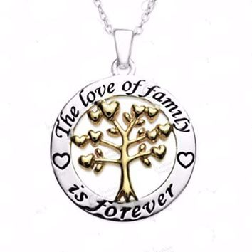 'The Love of Family is Forever' Pendant Necklace