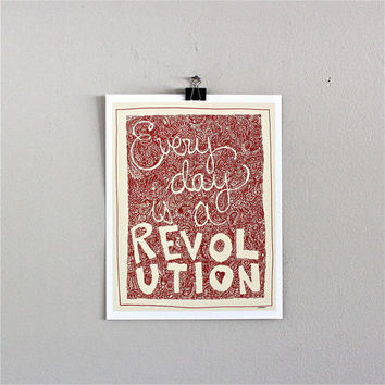 Paisley Revolution Art Print Paisley red Orange by JeffMacArt
