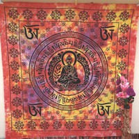 Om Budha Meditation Mandala Hippie Large Tapestry, Indian Ethnic Wall Decor, Table Runner Bed Sheet, Hippie Dorm Decor - Beach Sheet - Hanging Wall