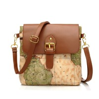Vintage World Map Messenger Bag Crossbody Bag
