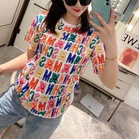 """"""" Moschino""""  Woman Contrast Color Casual Fashion Letter Printing Loose Large Size Short Sleeve T-Shirt Tops"""