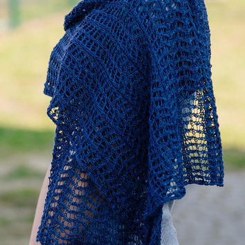 Denim romantic hand-made shawl made with thin schurwoole     Wedding shawl   Romantic femine shawl   Knitting shawl   OOAK   Ready to ship.