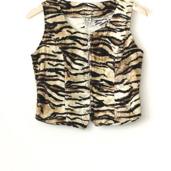 Vintage 90s Hipster Grunge // Faux Fur Tiger Cropped Vest Top // Southwestern // Velvet // Size Extra Small XS / Small / Medium