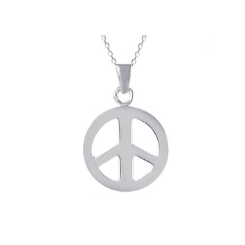 925 Sterling Silver Peace Sign Symbol Pendant Necklace