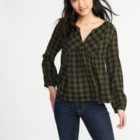 Relaxed Plaid Split-Neck Top for Women   Old Navy
