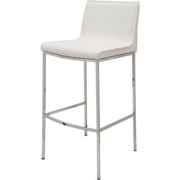 Colter Counter Height Stool White Leather & Chrome