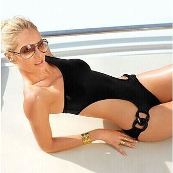 Womens Urban Edgy Monokini Stylish One-Piece Swimsuit