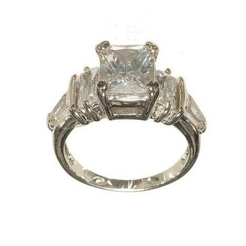 Silvertone Three Stone Fashion Ring with Emerald and Fancy Cut Clear Cubic Zirconia and Side Bagettes