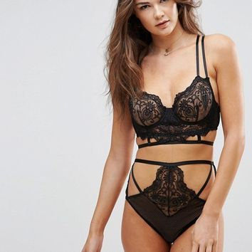 ASOS Kitty Lace Detail Longline Underwire Bra at asos.com