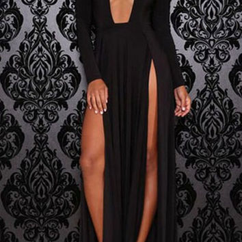 Black Long Sleeve V-Neck Maxi Dress