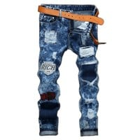 2017 Fashion Vintage Mens Ripped Jeans Pants Slim Fit Distressed Hip Hop Denim Joggers Male Novelty Streetwear Jean Trousers Cq2