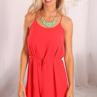 Red Chiffon Overlay Dress with Scoop Neck & Tie Waist