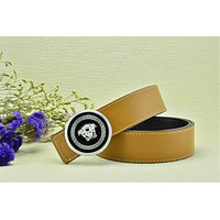 Silver Buckle Belt Versace Litchi Stria Belt - Khaki Leather