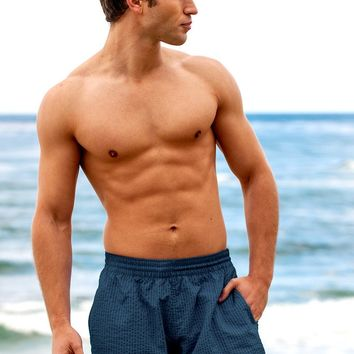Sauvage Mens Swimwear European Beach Shorts - Blue