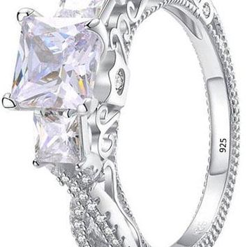 Three Stone Princess Cut White Cz 925 Sterling Silver Wedding Engagement Ring