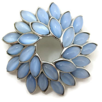 Trifari Jewelry Brooch - Moonstone Glass Stones, Pale Blue Wreath, Costume Jewelry