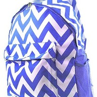Chevron Print Zig Zag School Travel Backpack (Royal Blue)