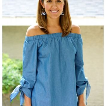 Chambray off the shoulder top with sleeve ties | Ivey | escloset.com