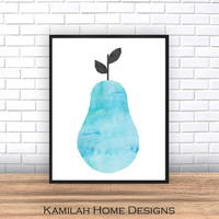 Scandinavian Design, Home Decor, Blue Pear Print, Abstract Art, Printable Art, Mid Century Modern, Wall Decor, Wall Art, Instant Download