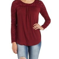 Burgundy Lace & Gauze Long Sleeve Top by Charlotte Russe