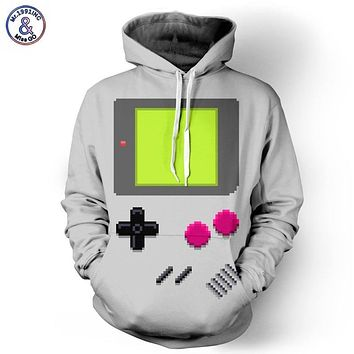 3D HOODED NINTENDO GAMEBOY PRINT SWEATSHIRT