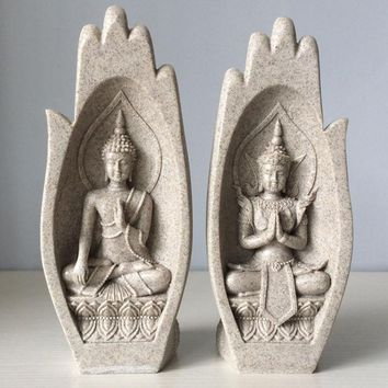 2Pcs Small Buddha Statue Monk Figurine Tathagata India Yoga Mandala Hands Sculptures Home Decoration Accessories Ornaments