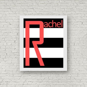 Nursery decor, Name prints, mod nursery art, big letter prints, coral, mint and black, prints, kids bedroom decor, digtal prints