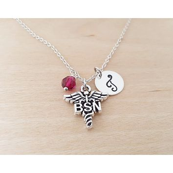BSN Nurse Necklace - Medical Charm - Personalized Sterling Silver Necklace