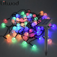 Litwod z30 Christmas Outdoor Decoration 7 Meters 50 LEDs String Led Lights RGB Color Solar New year Garden Xmas Wedding Party