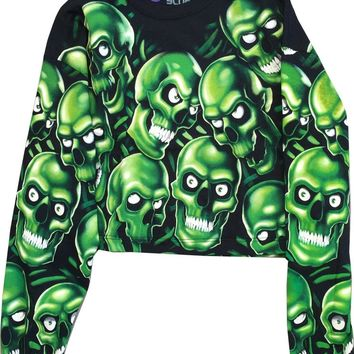 Skull Pile All Over Print Oversize Crop Top Glow In The Dark