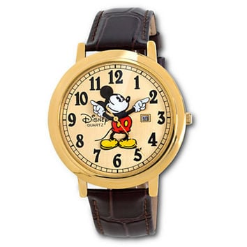 Disney Parks Jumbo Classic Mickey Mouse Watch Brown Gold New