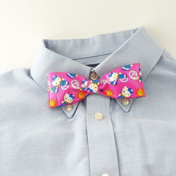 Pink Clip On Bow Tie, Kawaii Hello Kitty Bowtie For Men, Unique Ties